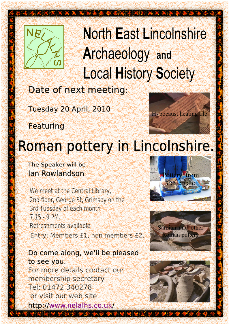 21 April Poster on Roman pottery in Lincs